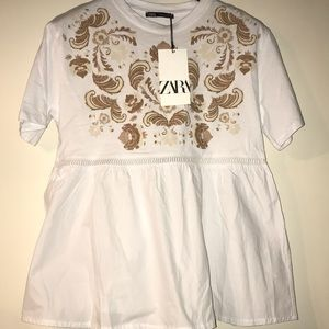 Zara White Peplum Top